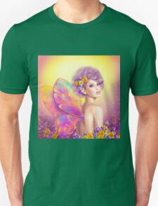 Beautiful girl fairy butterfly at pink and purple flower background T-Shirt