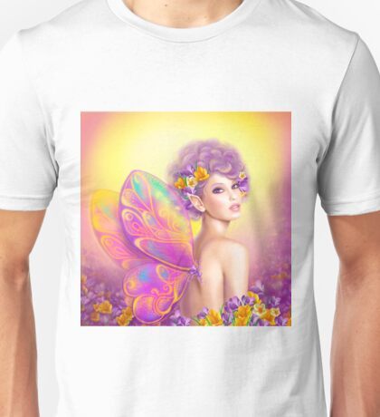 Beautiful girl fairy butterfly at pink and purple flower background Unisex T-Shirt