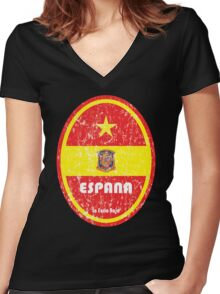 World Cup Football 8/8 - Espana (Distressed) Women's Fitted V-Neck T-Shirt