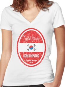 World Cup Football - Korea Republic (distressed) Women's Fitted V-Neck T-Shirt