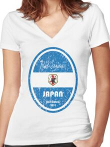 World Cup Football - Japan (distressed) Women's Fitted V-Neck T-Shirt