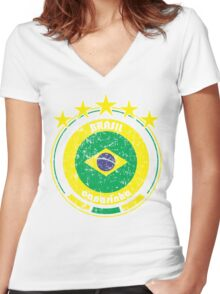 World Cup Football 1/8 - Team Brasil (distressed) Women's Fitted V-Neck T-Shirt
