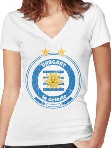 World Cup Football 4/8 - Team Uruguay (distressed) Women's Fitted V-Neck T-Shirt