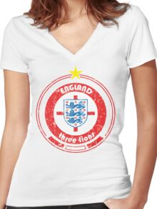 World Cup Football 6/8 - Team England (distressed) Women's Fitted V-Neck T-Shirt