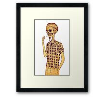Skull men smoking Framed Print