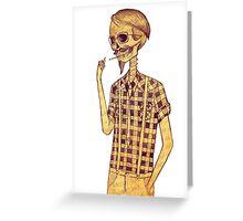 Skull men smoking Greeting Card