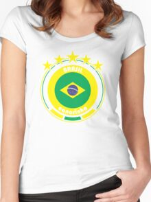 World Cup Football 1/8 - Team Brasil Women's Fitted Scoop T-Shirt
