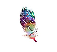 Rainbow Galaxy Feather Photographic Print
