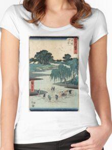Fujieda - Hiroshige Ando - 1855 - woodcut Women's Fitted Scoop T-Shirt