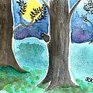 Moonlight Summer Night Watercolor Postcard Painting by Almonda