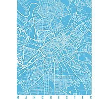 Manchester map blue Photographic Print