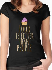food is better than people - cupcake Women's Fitted Scoop T-Shirt