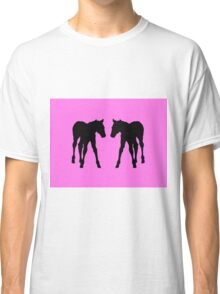 Foal, Colt, Baby Horses Silhouette on Pink Classic T-Shirt