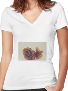Dried Rose Women's Fitted V-Neck T-Shirt