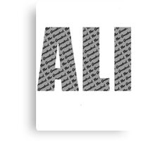 Ali - The Greatest Black text Canvas Print