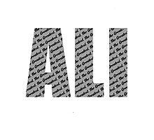 Ali - The Greatest Black text Photographic Print