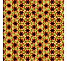 Pattern 11: Green with red/yellow/black flowers Photographic Print