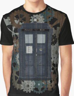 Wooden TARDIS with Clockwork  Graphic T-Shirt