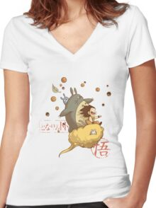 Totoro Ball Women's Fitted V-Neck T-Shirt