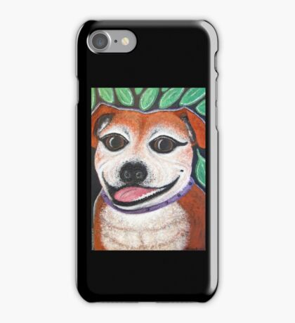 Gracie May Staffy Dog under the lime tree iPhone Case/Skin