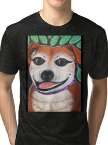 Gracie May Staffy Dog under the lime tree Tri-blend T-Shirt