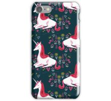 Unicorn // navy blue pink andrea lauren  iPhone Case/Skin