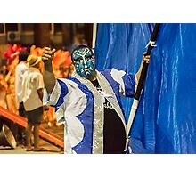 Painted Face Man at Inagural Parade of Carnival in Montevideo Photographic Print