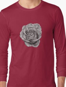 Black And Grey Rose Long Sleeve T-Shirt