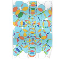 1107 - Lots of Circles in Light Blue with Yellow Spots Poster