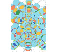 1107 - Lots of Circles in Light Blue with Yellow Spots Photographic Print