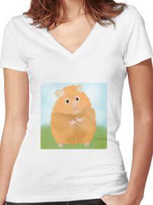 Hamster loves cookie Women's Fitted V-Neck T-Shirt