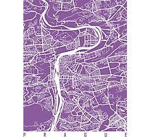 Prague map lilac Photographic Print