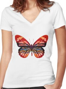 Butterfly Abstract Psychedelic Women's Fitted V-Neck T-Shirt