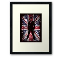 Doctor With Blue Tardis British Flags Framed Print