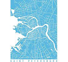 Saint Petersburg map blue Photographic Print