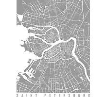 Saint Petersburg map grey Photographic Print