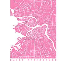Saint Petersburg map pink Photographic Print