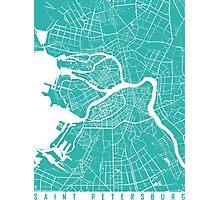Saint Petersburg map turquoise Photographic Print