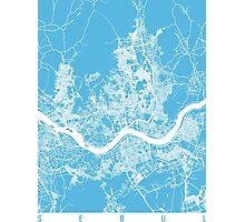 Seoul map blue Photographic Print