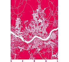 Seoul map raspberry Photographic Print