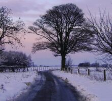 Snow Road over the Wolds Sticker