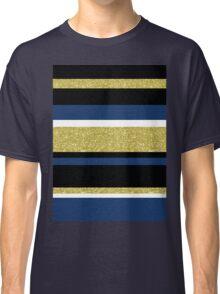 Gold navy blue stripes pattern Classic T-Shirt