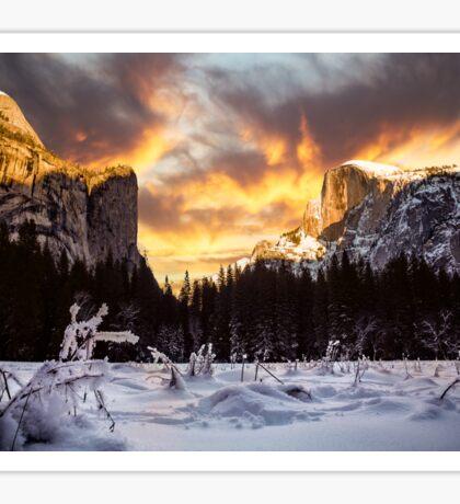 Yosemite Valley in Winter Sticker
