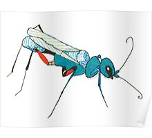 Blue Wasp Bug Insect Cute Illustration Drawing Unique Poster