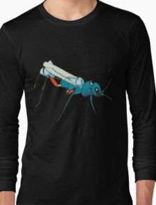 Blue Wasp Bug Insect Cute Illustration Drawing Unique Long Sleeve T-Shirt
