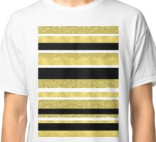 Gold black and white stripes pattern Classic T-Shirt