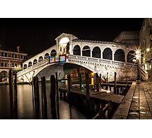 VENICE Rialto Bridge at Night Photographic Print