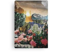 Forest Scene Paper Collage Canvas Print