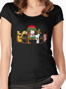 Dogs playing poker Women's Fitted Scoop T-Shirt