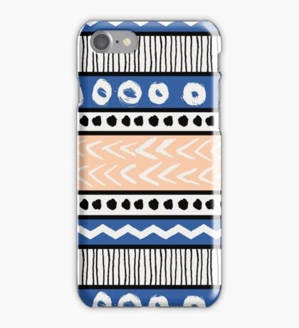 Blue, Pink and Black Ethnic Pattern iPhone Case/Skin